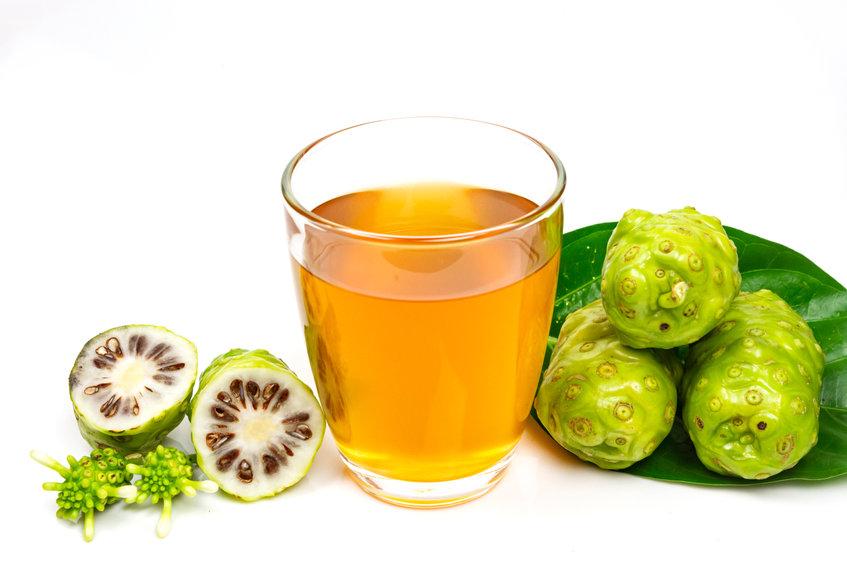 Noni juice with noni fruit