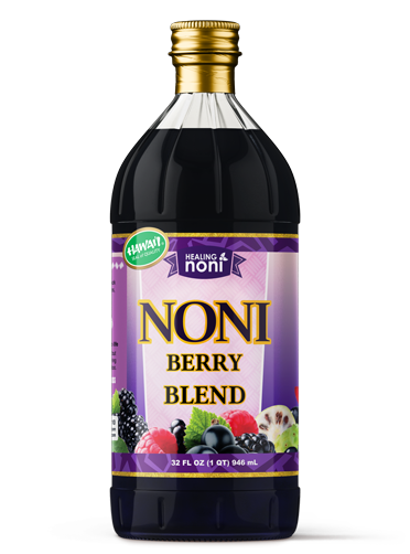 Noni juice and berries blended